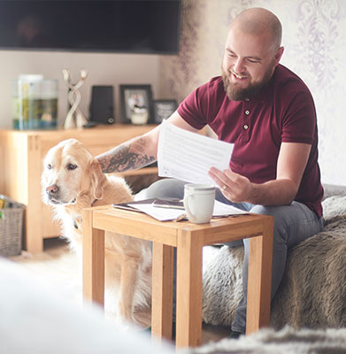 Client Forms: Dog And Owner Filling Out Forms